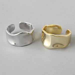 NEW SILVER / GOLD PLATED WAVE ADJUSTABLE RING